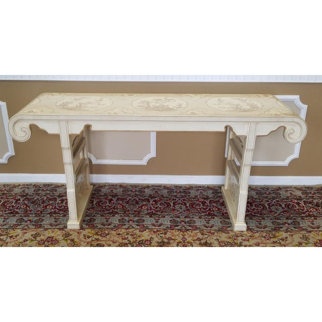 Description: This is a very nice vintage 1980s Drexel Heritage white Asian style alter or console table from the sought...