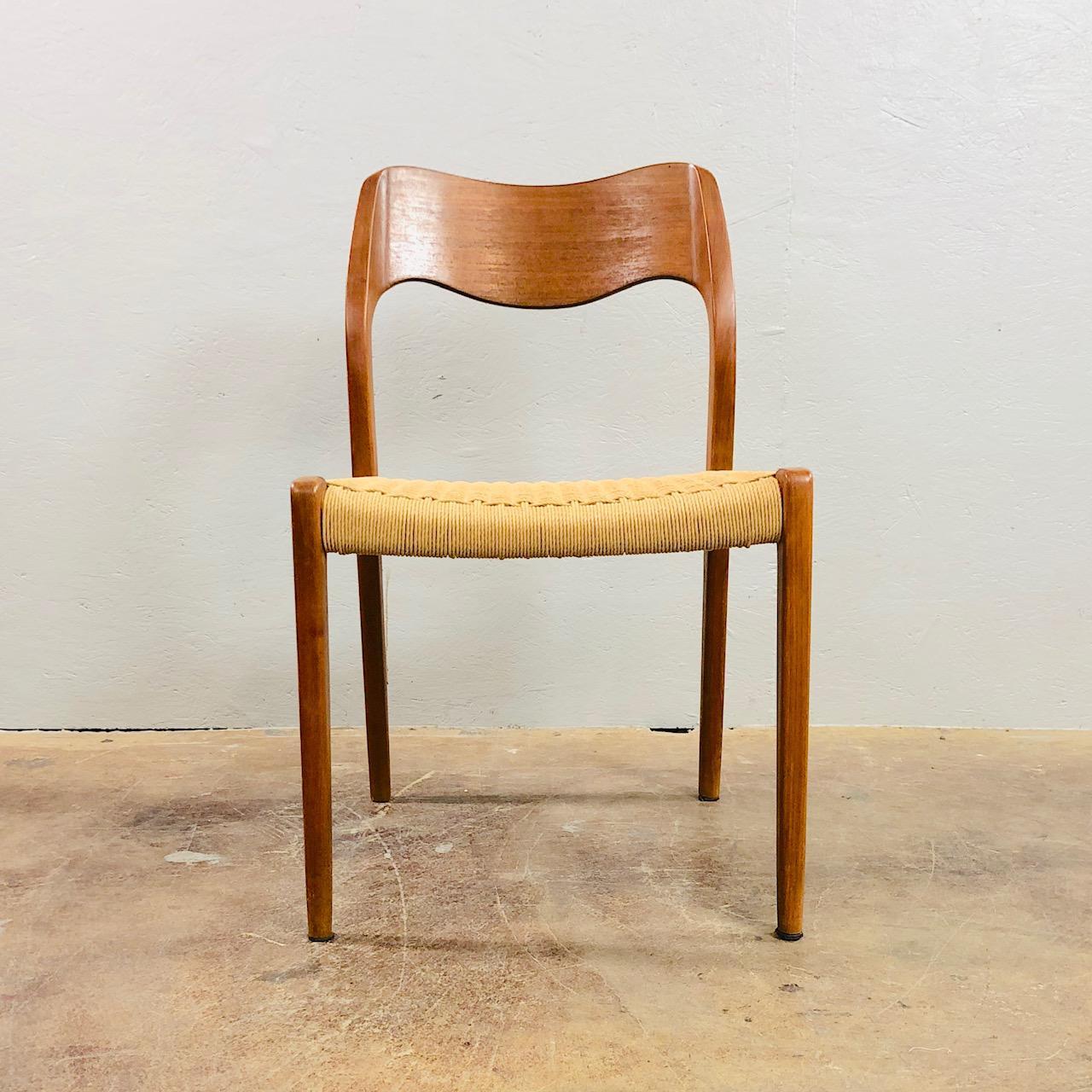 Superb 1960s Niels Otto Møller Model 71 Dinner Chairs For J.L. Møller, Set Of  Eight.