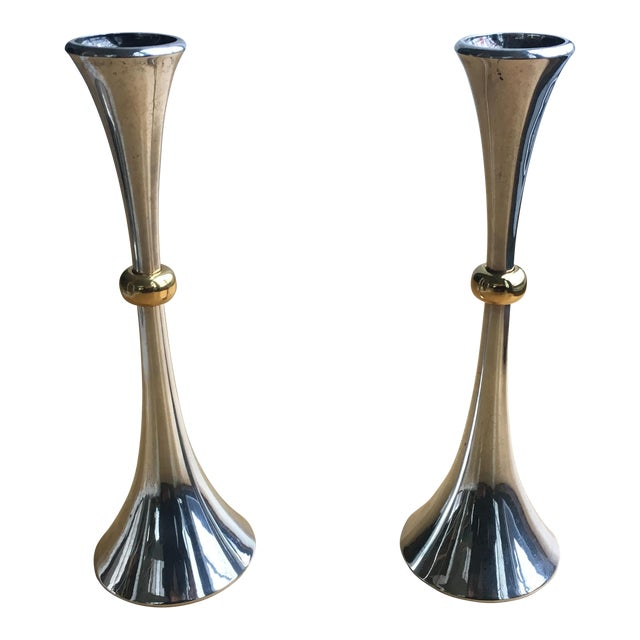 Jens Quistgaard for Dansk Gold and Silver Candleholders - a Pair For Sale