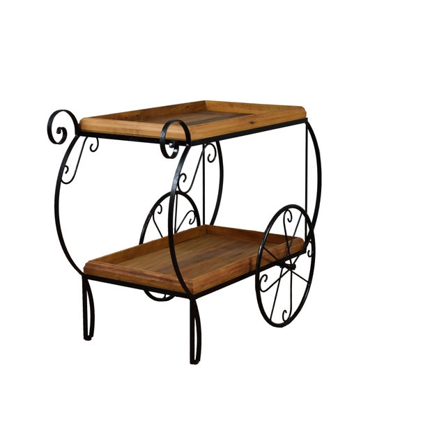 Rustic Bar Cart - Reclaimed Wood & Wrought Iron - Image 2 of 5