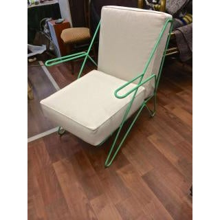 1950s Raoul Guys Rarest Pair of Aqua Metal Chairs Newly Recovered in Canvas Cloth For Sale - Image 5 of 6