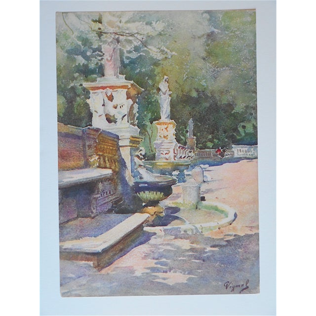 This lithograph (offset) depicts the gardens of the Villa Borghese in Rome. The scene was printed in France c.1927 on...