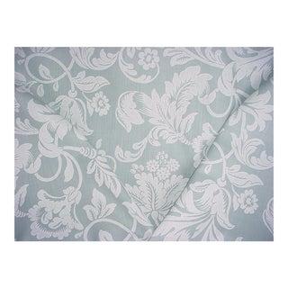 Gp & J Baker Nocturne Aqua Handprint Damask Upholstery Fabric - 11 1/4 Yards For Sale