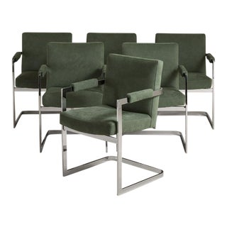A Set of Six Nickel Plated Cantilever Armchairs 1970s For Sale