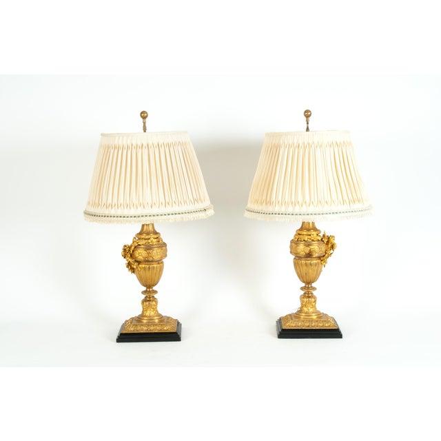 Louis XVI Style Doré Bronze Table Lamps - a Pair For Sale - Image 9 of 13