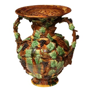 19th Century French Hand-Painted Barbotine Vine Motif Vase For Sale