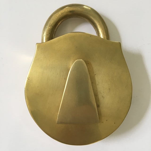 Mid-Century Virginia Metalcrafters Solid Brass Padlock Ashtray/Catchall For Sale - Image 11 of 13