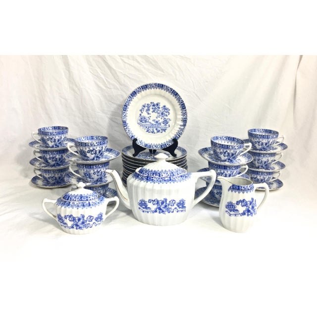 Lovely and hard to find 1940's coffee & tea dessert set with blue and white Chinoiserie design. ∫chirnding & Blau by...