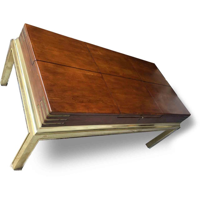 Stanley Furniture Campaign Brass & Cubby Cocktail Table by Stanley Furniture For Sale - Image 4 of 10