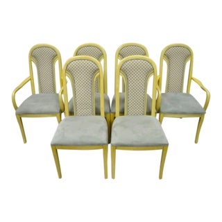 Mid 20th Century Set 6 Vintage Art Deco Style Cream Upholstered Back Dining Chairs Attr. Henredon - Set of 6 For Sale