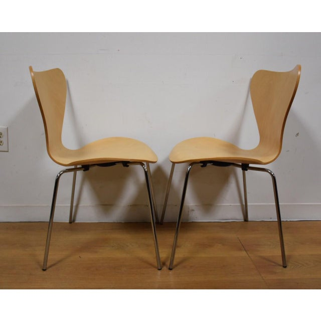 Arne Jacobsen Style Birch Dining Chairs - Set of 4 - Image 9 of 11