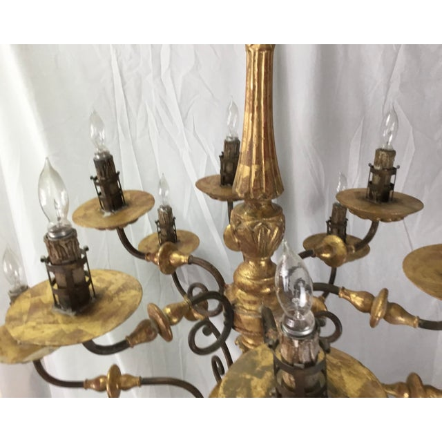 Italian 19th Century Carved Wooden Fragments Chandelier With 12 Arms For Sale In Los Angeles - Image 6 of 13