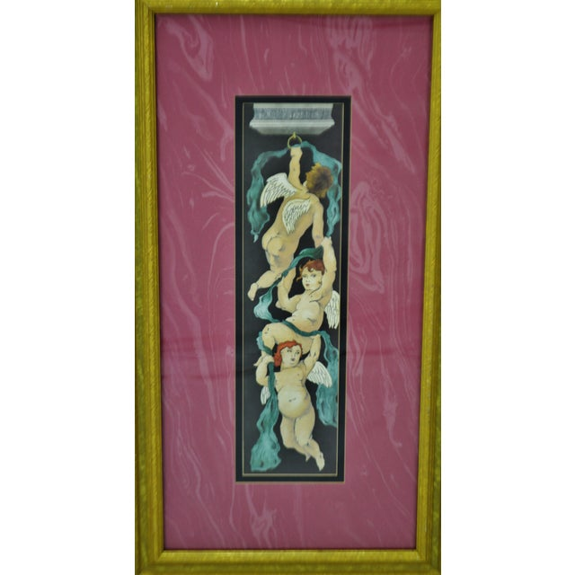 Vintage Framed Paragon Picture Gallery Cherub Print For Sale - Image 4 of 12
