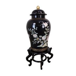 Asian Black Porcelain Lidded Jar on Stand W/ Mother of Pearl For Sale