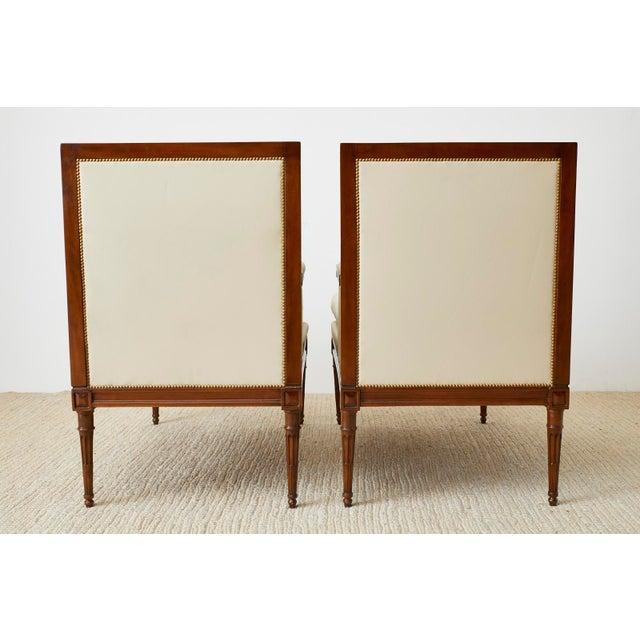 Maison Jansen Louis XVI Style Long Bergere Armchairs - a Pair For Sale - Image 12 of 13