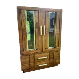 20th Century Milo Baughman Style Jewelry Music Box Wood For Sale