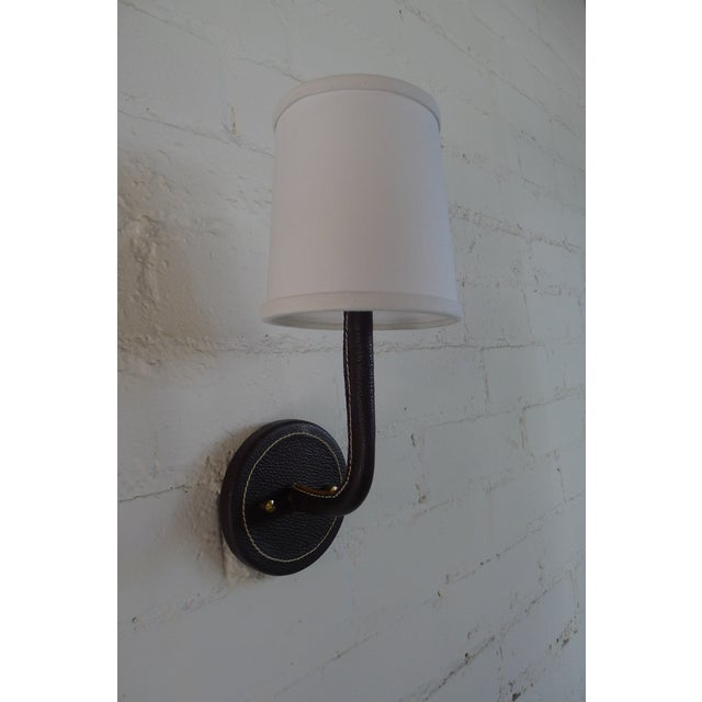 Paul Marra Black Top-Stitched Leather Wrapped Sconce For Sale - Image 10 of 10