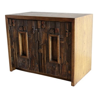 Mid-Century Lane Sculptural Brutalist Paul Evans Style Chest Nightstand End Table Credenza