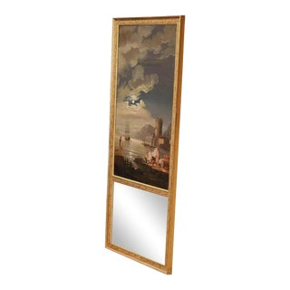 Early 19th Century French Hand-Painted Vernet Style Trumeau Mirror For Sale