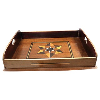 Antique English Inlaid Star Butlers Tray For Sale