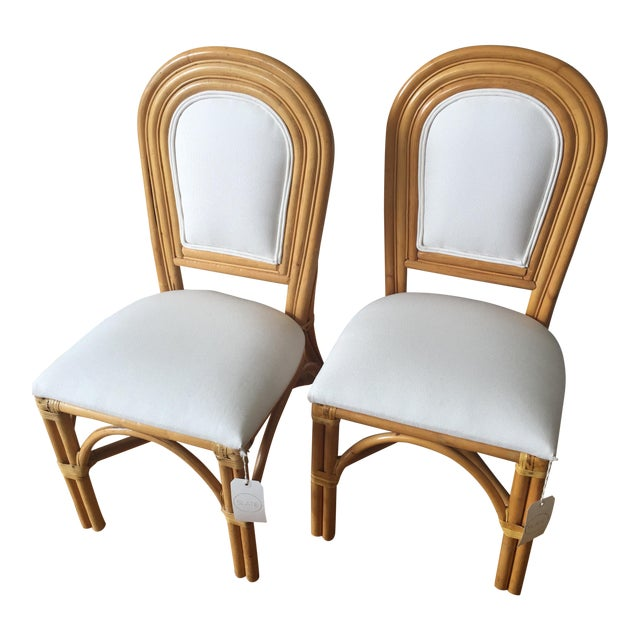 Upholstered Rattan Side Chairs - A Pair - Image 1 of 6