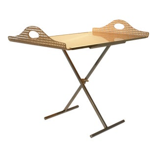 Mid Century Modern Gabriella Crespi Style for Dior Home Resin Covered Wicker & Brass Butler's Tray on Chrome Stand