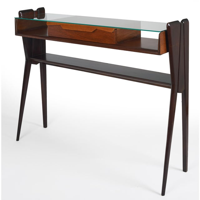 Mid-Century Modern Italian 1950s Ico Parisi Att., Biomorphic Three-Tone Rosewood and Glass Console For Sale - Image 3 of 7