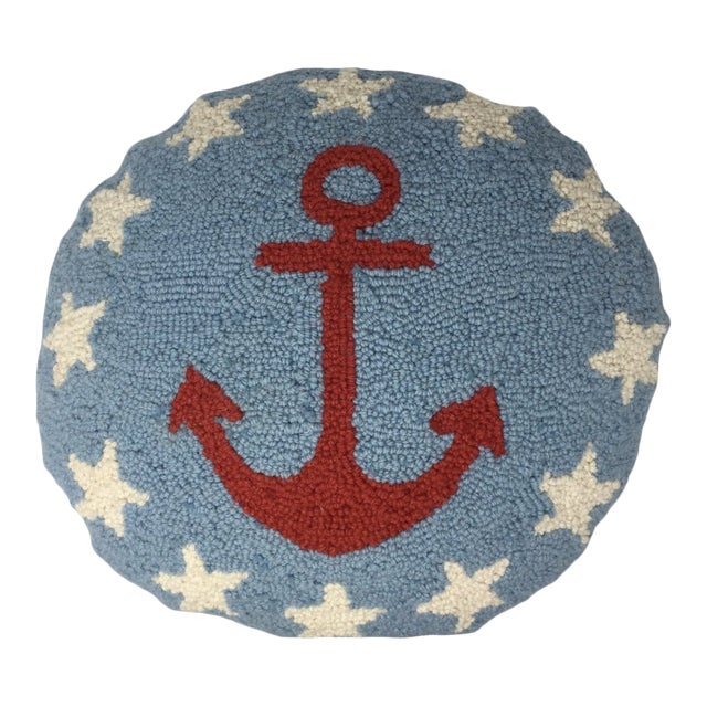 Vintage Anchor Hook Round Pillow Cover For Sale
