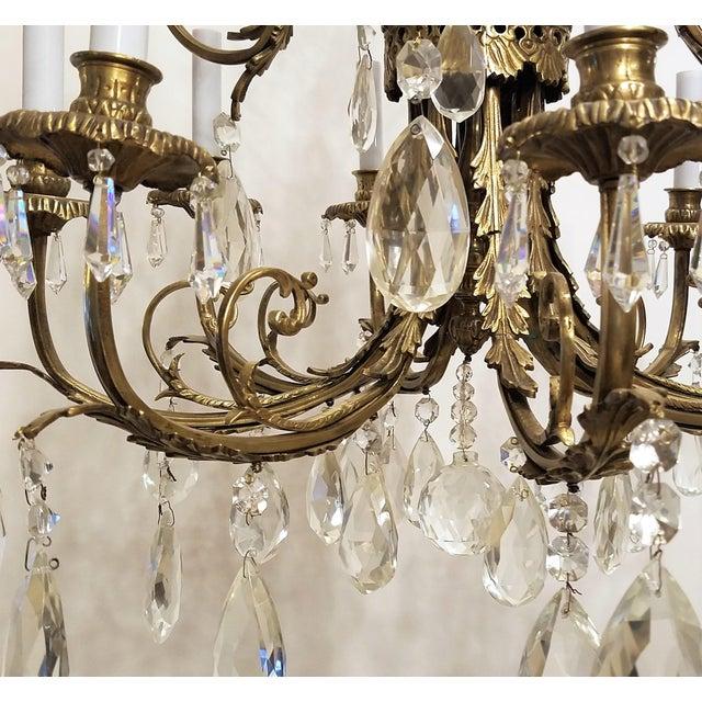 Gold 1920s Louis XVI Bronze & Crystal 12 Lights Chandelier For Sale - Image 8 of 10