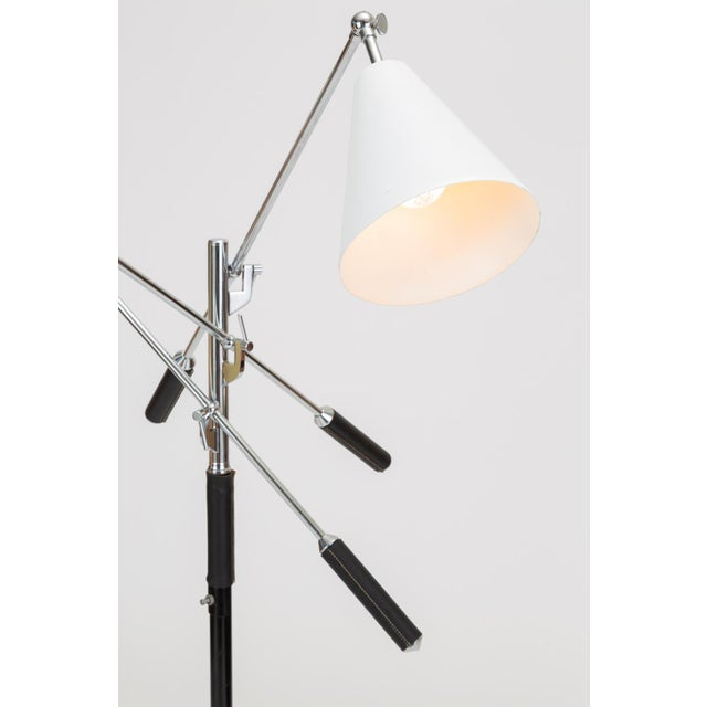 Metal Three-Arm Italian Modernist Floor Lamp With Marble Base For Sale - Image 7 of 13