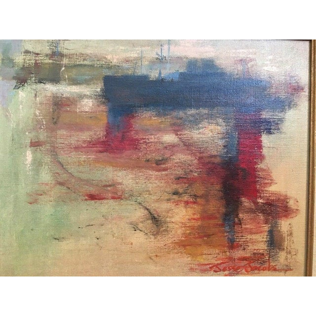 Vintage abstract expressionist oil painting on canvas. Painting is signed by artist Jesse Jacobs and dated 1975. The...