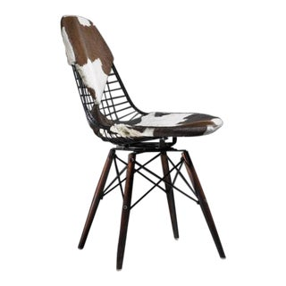 Eames DKW Wire Chair with Unique Cowskin Bikini Seat on Dowel Feet, USA, 1950 For Sale