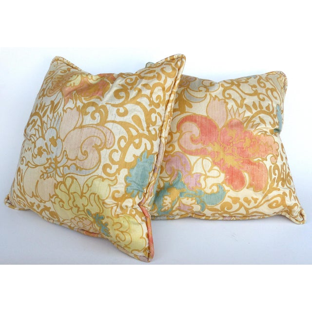 White Barbara Beckmann Hand-Printed Silk Bolster Pillows, Pair For Sale - Image 8 of 9