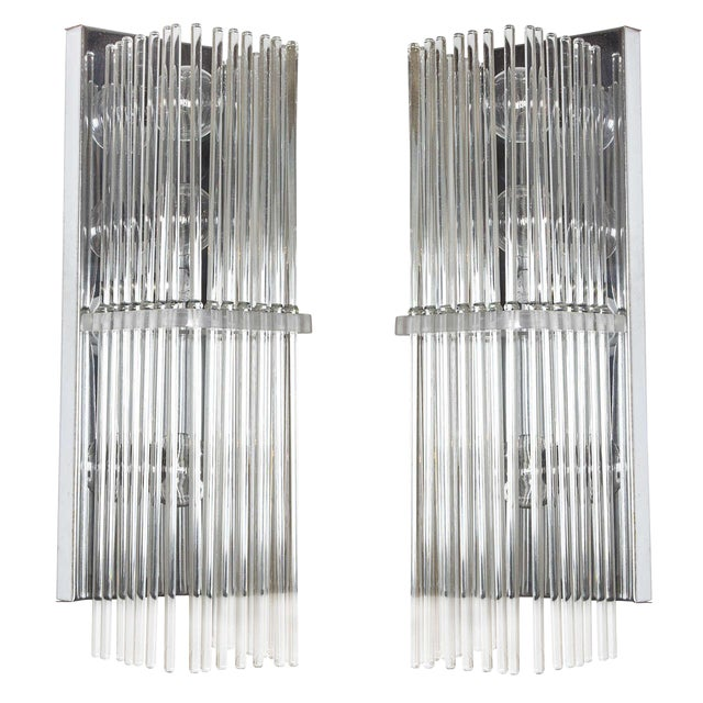 Pair of Crystal Rod Sconces by Lightolier For Sale
