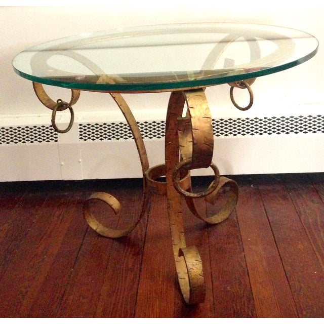 Gold 1970s Hollywood Regency Gilt Iron Scroll Base Glass Top Table For Sale - Image 8 of 8