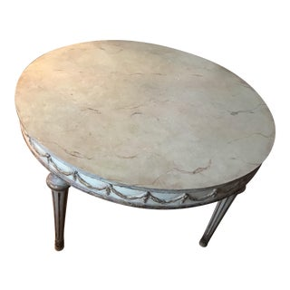 Mid-Century French Faux Marble Top Dining Table