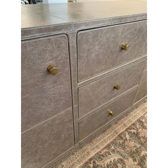 2010s Mid-Century Modern Leather Buffet For Sale - Image 5 of 6