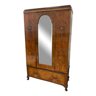 Early-20th Century Modular Wood + Mirrored Armoire For Sale