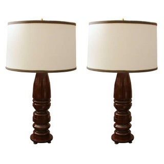 Mahogany Spindle Lamps - a Pair For Sale
