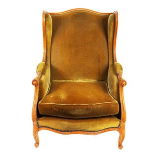 Louis XV Style Golden Mohair Wingback Chair For Sale