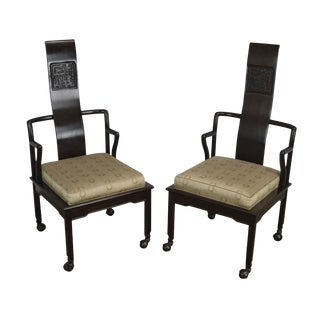 James Mont Inspired Asian Influenced Pair Mahogany Armchairs For Sale
