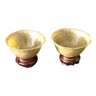 19th Century Asian Semi-Precious Stone Ceremonial Bowls - a Pair For Sale