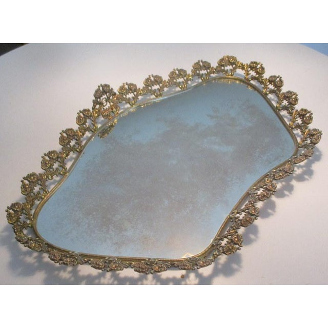 Late 20th Century Large Vintage Mirrored Plateau Tray With Brass Flowers For Sale - Image 5 of 7