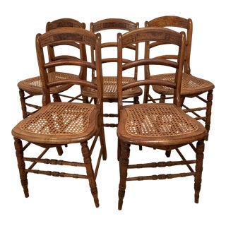 """19th Century Antique American Ladderback """"Fancy Chairs"""" - Set of 5 For Sale"""