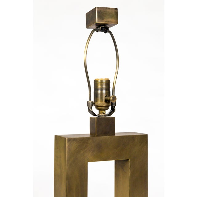 Brass 1970s Rectangular Antiqued Brass Table Lamps - a Pair For Sale - Image 7 of 11