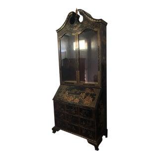 Painted Scene Large Black Lacquer Bureau Bookcase Desk For Sale