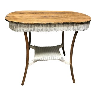 Rustic Wicker & Oak Side Table For Sale