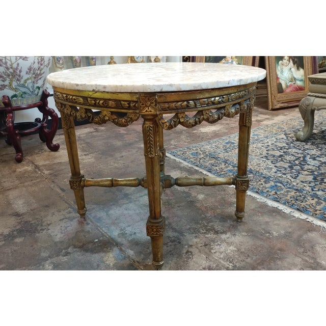 19th Century Louis XV Carved Gilt & Marble Top Coffee Table For Sale In Los Angeles - Image 6 of 8