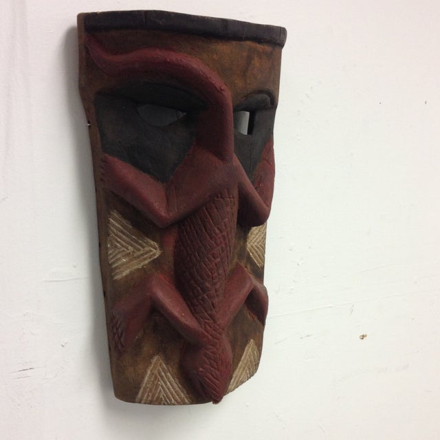 Hand Carved Wooden Mask With Lizard Design - Image 3 of 9