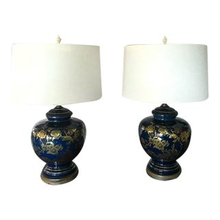 Pair, Mid Century Ceramic Lamps With Gilt Flower Design For Sale